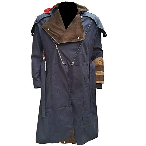 Cosplay Costume Denim Cloak Assassin Creed Arno Dorian Dan Jeannotte Coat with Detachable Hood (3XL - Jacket Chest ()