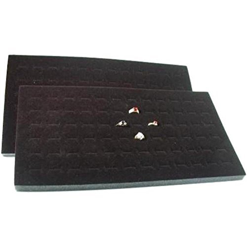 FindingKing 2 72 Slot Black Jewelry Travel Ring Inserts Display Pads (Insert Display Ring Jewelry Foam)