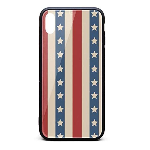 American Patriotic Stars Printing iPhone X Case Plate and Soft TPU/Shock Proof/Anti-Finger Double Protection Phone Back Case Cover for iPhone X