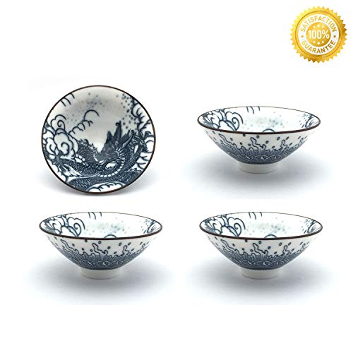 Teacups Set,QMFIVE,Chinese Traditional Blue and White Ceramic Mug of 4, 100cc\3.5oz,Best Gift