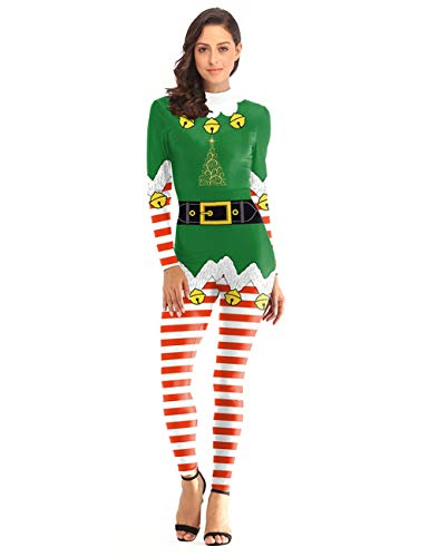 GRACIN Womens Christmas Elf Jumpsuit Santas Costume, 3D Printed Xmas Festive Cosplay Catsuit (Medium, Green Elf)