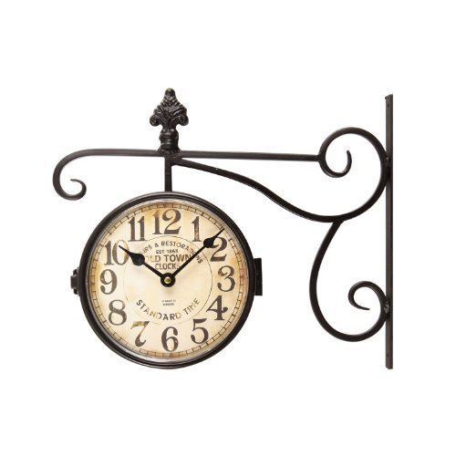 Adeco CK0071 Black Wrought Iron Vintage-Inspired Train Railway Station Style Round Double-Sided Two Faces Wall Hanging Clock with Scroll & Fleur De Lis Wall Side Mount