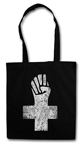 ANARCHIST CROSS Hipster Shopping Cotton Bag Cestas Bolsos Bolsas de la compra reutilizables - Anarchy Anarchie Logo anarchia Cruz anarquía Symbol Revolution Sign Punk Demo Fist RAF