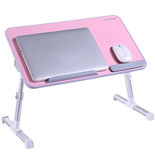 Portable Laptop Table by Superjare | Foldable & Durable Design Stand Desk | Adjustable Angle & Height for Bed Couch Floor | Notebook Holder | Breakfast Tray - Pink (Durable Notebook Lock)