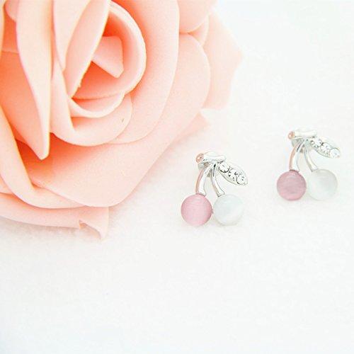 Gambulin Cute Opal Cherry Stud Earrings(Pink),Cherry Stud Earrings for ()