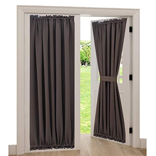 Spring Garden Home Front Door Window Curtain Panel Premium Window Drapes Thermal Insulated Blackout Panels for Patio/Sliding Glass Door, 1 Piece, 54 by 72-inch, Brown (Front Door Drapes)