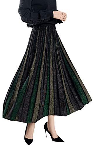 Silk Stripe Skirt (Skirts Women Pleated Skirt Autumn Winter Multicoloured Flared Golden Thread Knitted Swing Fashion Midi Skirt (Stripe B))