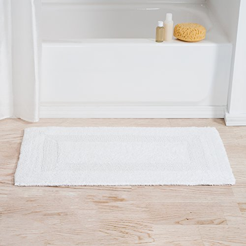 Lavish Home 67-MAT2040-W Reversible Bath Mat, White (Reversible Bath Mats)