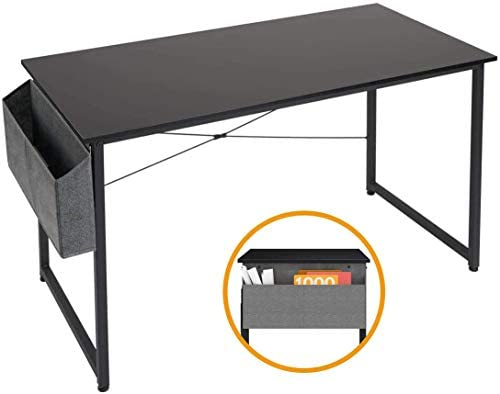 Computer Desk Home Office Study Desk, Writing Computer Gaming PC Laptop Workstation Desk Modern Simple Style Laptop Table with Storage Bag 47 , Black