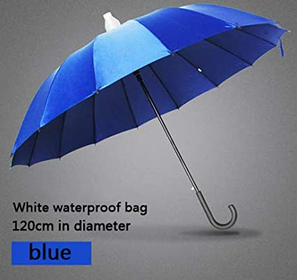 HEIFEN Waterproof Cover Design Umbrella Men Semi-Automatic Blue Fiberglass 16 Ribs Oversized 210T High-Density Water-Repellent Impact Cloth and Mens and Womens Non-Slip Handles