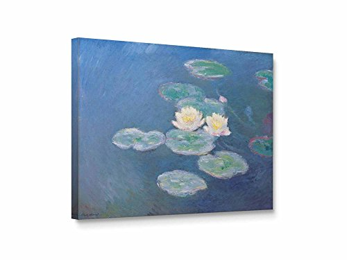 Niwo ART (TM) - Water Lilies Evening Effect, by Claude Monet, Oil painting Reproduction - Giclee Wall Art for Home Decor, Gallery Wrapped, Stretched, Framed Ready to Hang - Glasses India Hipster