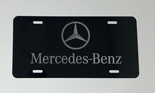 MERCEDES BENZ LOGO 2 Car Tag Diamond Etched on Black Aluminum License Plate