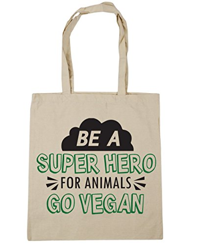 HippoWarehouse ser una Super Hero para animales Go Vegan Tote Compras Bolsa de playa 42cm x38cm, 10litros Natural