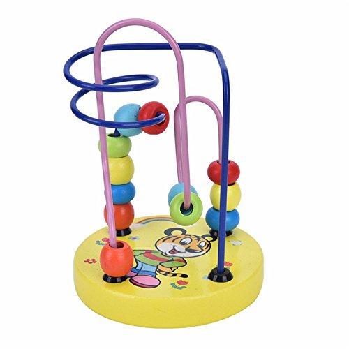 Vi.yo Wooden Mini Circle Bead Maze P/ädagogisches Spielzeug Hell Bunte Wire Roller Puzzle Z/ählen Frames f/ür Baby Kleinkind