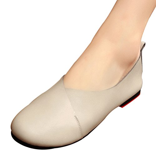 Mordenmiss Mujeres Cowhide Guante Zapatos Ballet Flat Loafer Gris