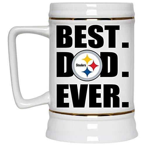 - Best Dad Ever Beer Mug, Pittsburgh Steelers Logo Beer Stein 22oz, Birthday gift for Beer Lovers (Beer Mug-White)