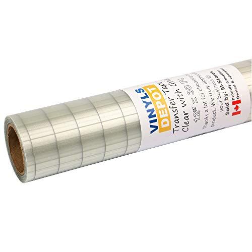 Vinylsdepot Transfer Tape 12 X30 Ft Transfer Paper For Vinyl Roll Clear With Grid Best For Cricut Vinyl 651 Vinyl Etc Made In The Usa