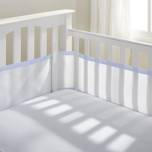 BreathableBaby | Breathable Mesh Crib Liner | Doctor Endorsed | Helps Prevent Arms and Legs from Getting Stuck Between Crib Slats | Independently Tested for Safety | White w/Light Blue Seersucker (Seersucker Baby Bedding)