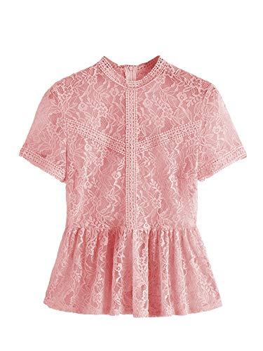 Romwe Women's Lace Mesh Layered Sleeve Floral Elegant Ruffle Peplum Blouse Top Pink Large