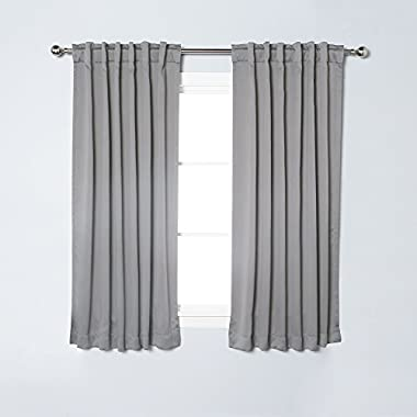 Best Home Fashion Thermal Insulated Blackout Curtains - Back Tab/ Rod Pocket - Grey - 52 W x 63 L - (Set of 2 Panels)