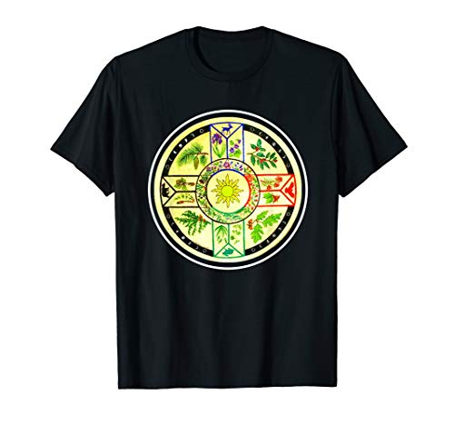 Native American Four Directions Herbal Drum Medicine Wheel T-Shirt