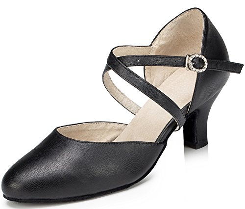 Honeystore Women's Synthetic Leather Closed-Toe Dance Shoes Criss Cross Ankle Strap Black 7 B(M) US -