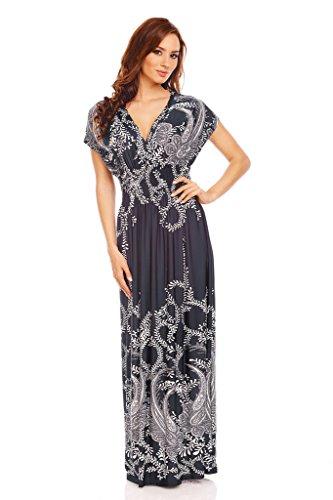 My Evening Dress - Vestido largo veraniego estampado con flores y leopardo Azul