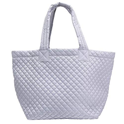 ClaraNY Comfortable light weight quilted Tote bag with Pouch water repellent light Gray ()