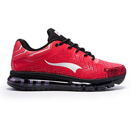 Männer AIR Cushion Laufschuhe Outdoor Sportschuhe Light Jogging Sneaker Rot schwarz