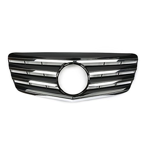 Black Front Hood Kidney Grille Grill With Chrome Moulding Grills For Mercedes Benz E-CLASS W211 CL 2007-2009 ()
