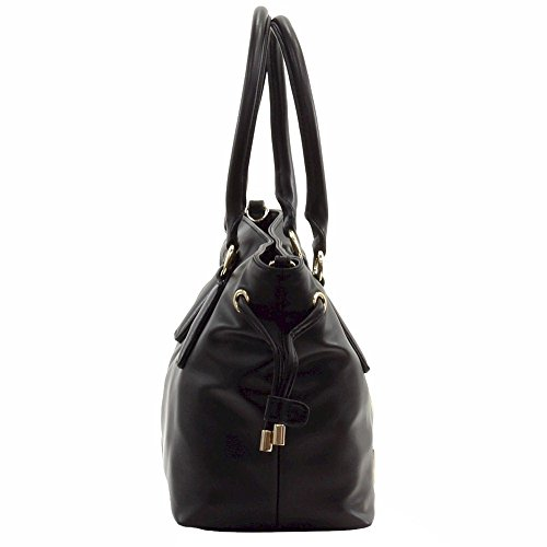 Love Moschino Women's Peace Black Leather Bucket Tote Handbag by Love Moschino (Image #2)