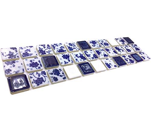 - Hominter Tile Sample 3 x 12 Inches: Blue and White Porcelain Tile, Glazed Ceramic Mosaic Bathroom Tiles Backsplash Wall and Floor ADT33