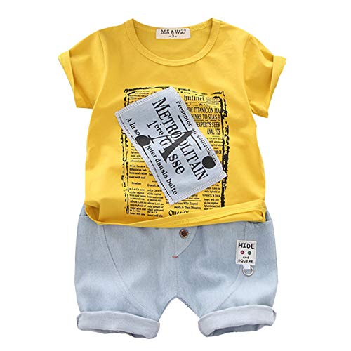❤️ Mealeaf ❤️ Kid Baby Boy Cartoon Letter Print Top T Shirt + Denim Shorts Outfit Set(Yellow,100)