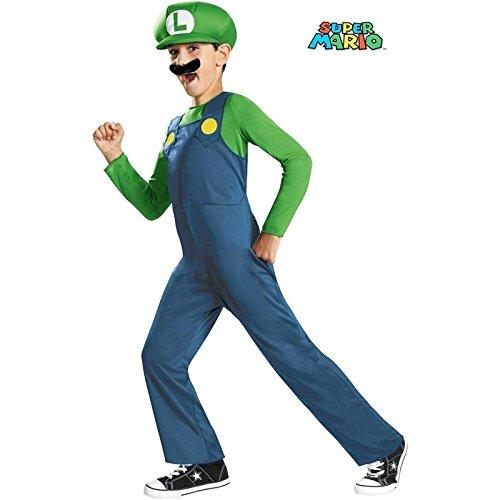 Nintendo Super Mario Brothers Luigi Classic Boys Costume, (Luigi Deluxe Childrens Costumes)