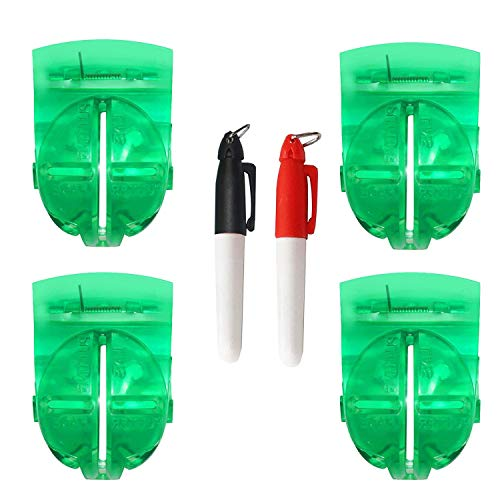 4Pcs Golf Ball Liner Drawing Marking Alignment Putting Tool Ball Marker Clip with 2Pcs Marker Pen,Green