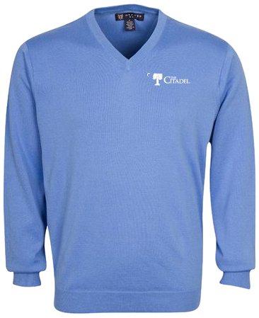 Oxford NCAA Citadel Bulldogs Men's Devon V-Neck Sweater (Atlantic Blue, Large) by Oxford