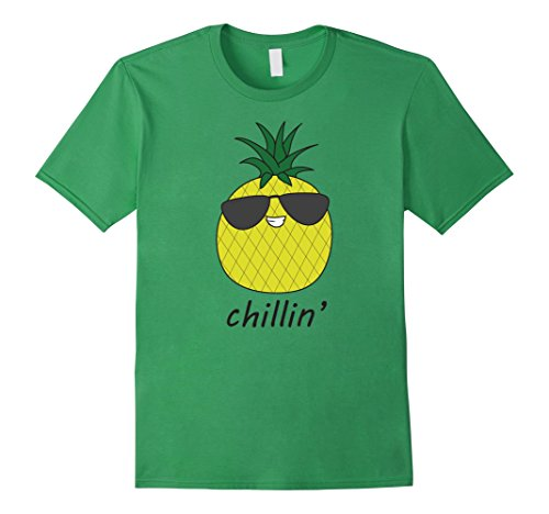 Mens Pinnacle Wear Summer Pineapple Chillin' T-Shirt Medium Grass (Grass Green Pinnacle)