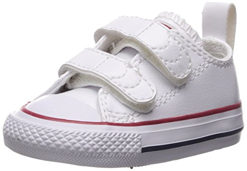 Converse Girls' Chuck Taylor All Star 2V Leather Low Top Sneaker, White, 4 M US Toddler