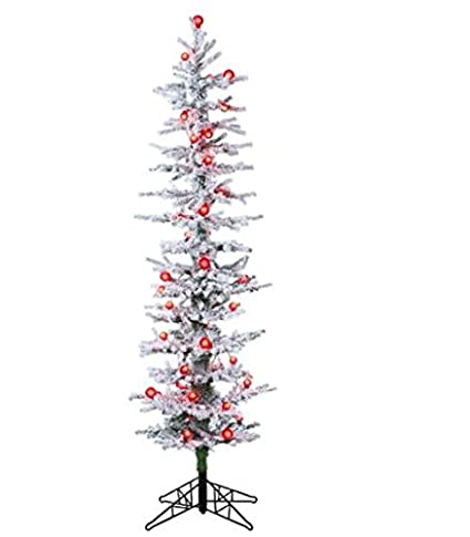 Allstate Pre-Lit White Snow Flocked Green Pine Artificial Christmas Tree  with Red Lights, - Amazon.com: Allstate Pre-Lit White Snow Flocked Green Pine