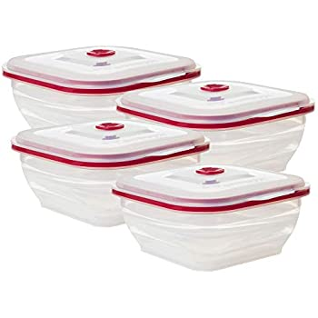 Collapse-it Silicone Food Storage Containers - BPA Free Airtight Silicone Lids, 4 Piece Variety Set of 4-Cup Collapsible Lunch Box Containers - Oven, Microwave, Freezer Safe with Bonus eBook