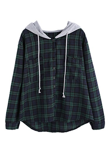 Plaid Hooded Flannel Jacket (SweatyRocks Women's Casual Plaid Hoodie Shirt Long Sleeve Button-up Blouse Tops Green XL)