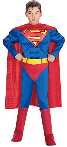 Super DC Heroes Deluxe Muscle Chest Superman Costume, Child's Medium ()