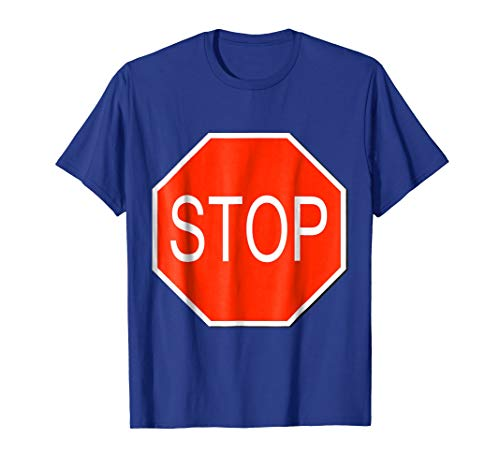 Mens Stop Sign Simple Easy Halloween Costume T-Shirt XL Royal Blue ()