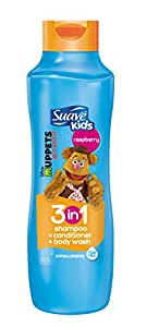 Suave Kids 3 in 1 Shampoo + Conditioner + Body Wash, Raspberry 22.5 oz (Packaging may vary)