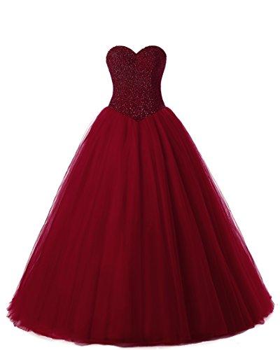 - Beautyprom Women's Ball Gown Bridal Wedding Dresses (US10, Burgundy)