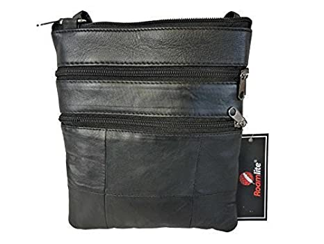 Mens Small Soft Leather Travel Pouch - Man Bag in Black - Mans ...
