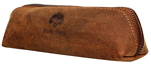 Rustic Town Leather Pen Case - Zippered Pencil Pouch for Work & Office (Brown)