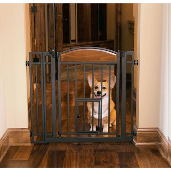 Design Studio Walk-thru Gate with Small Pet Door 418rPGydKoL