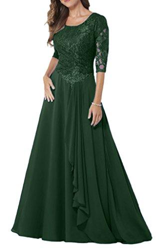 Chiffon Spitze Festkleider mit Bride Dunkelgruen Kleider Elegant Milano Damen Abendkleider Brautmutter Lang Aermel IqtTfBAw