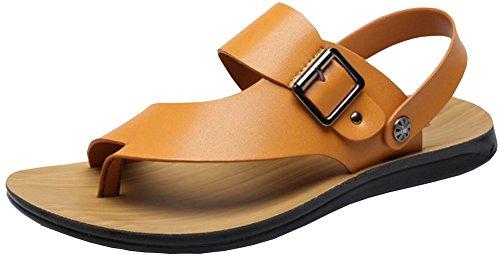 Vocni Mens Casual Outdoor Moda Per Adulti Pu Leather Beach Comfort Estate Scarpe Sandali Giallo
